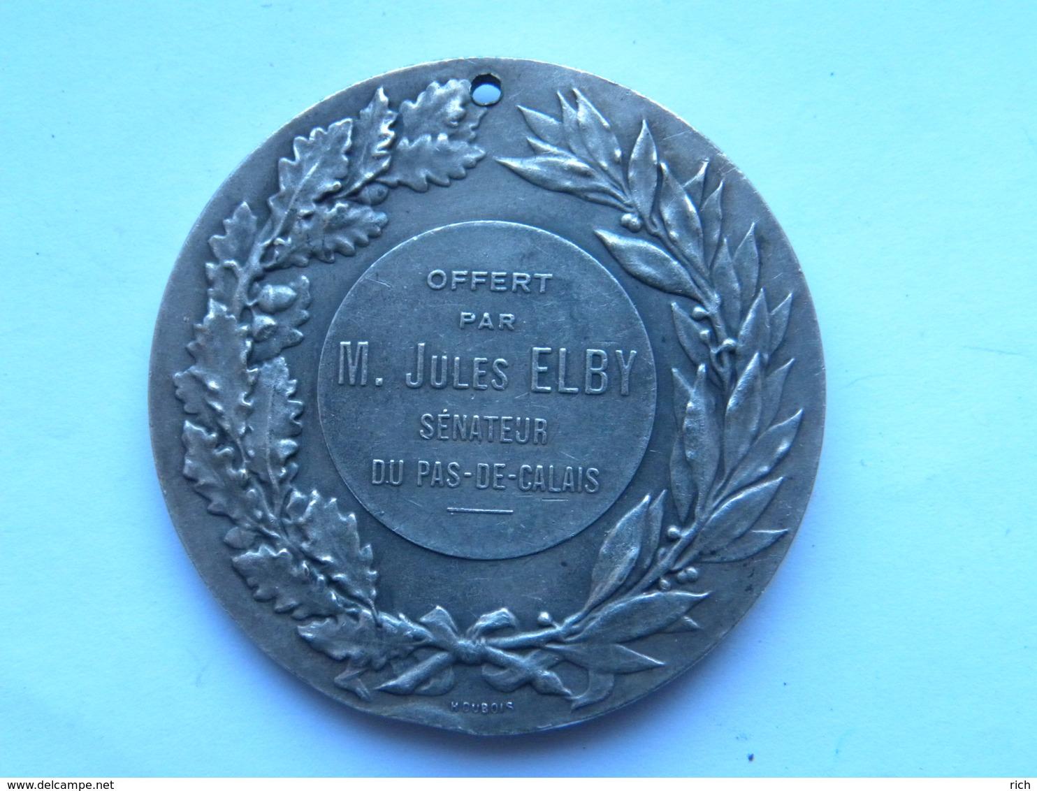 Médaille Bronze Argenté Diam 4,5 Cm - Graveur D DUPUIS Offert Par Jules Elby Sénateur Du Pas De Calais (1857-1933) - Medaglie
