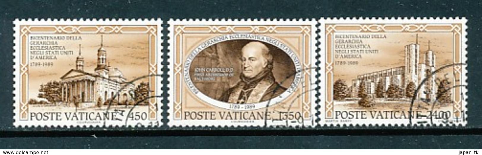 VATIKAN Mi.Nr. 993-995 200. Jahrestag Der Errichtung Der Ersten Katholischen Diözese, USA - Siehe Scan - Used - Used Stamps