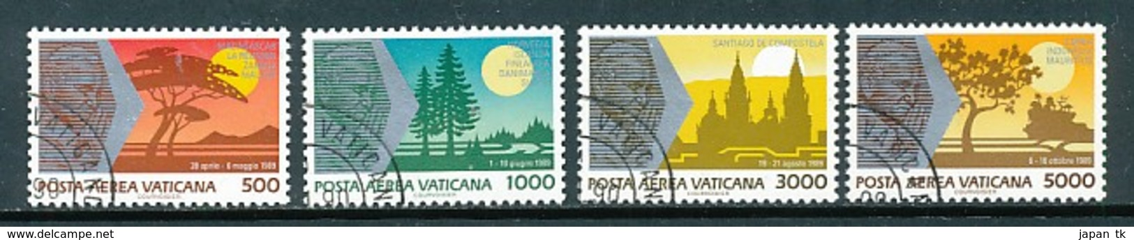 VATIKAN Mi. Nr. 1014-1017 Die Weltreisen Von Papst Johannes Paul II - Siehe Scan -used - Vatican