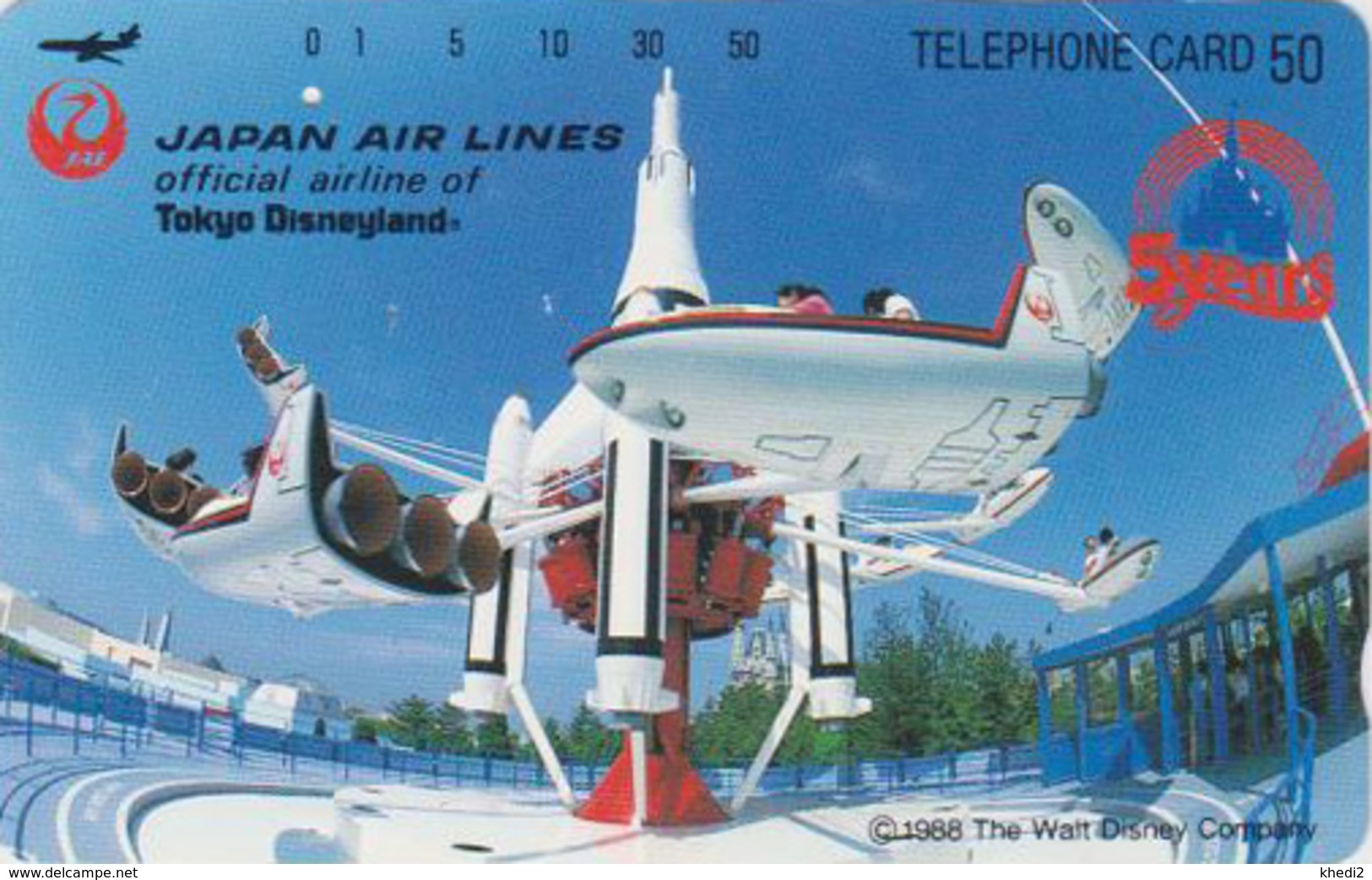 Télécarte Japon / 110-45935 - DISNEY DISNEYLAND JAL - Manège Avion Plane - JAPAN AIRLINES Phonecard - Disney
