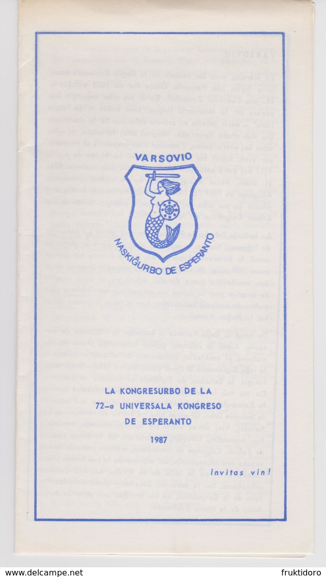 Brochure 72nd World Esperanto Conference In Warsaw, Poland - 72a Universala Kongreso 1987 - Oude Boeken