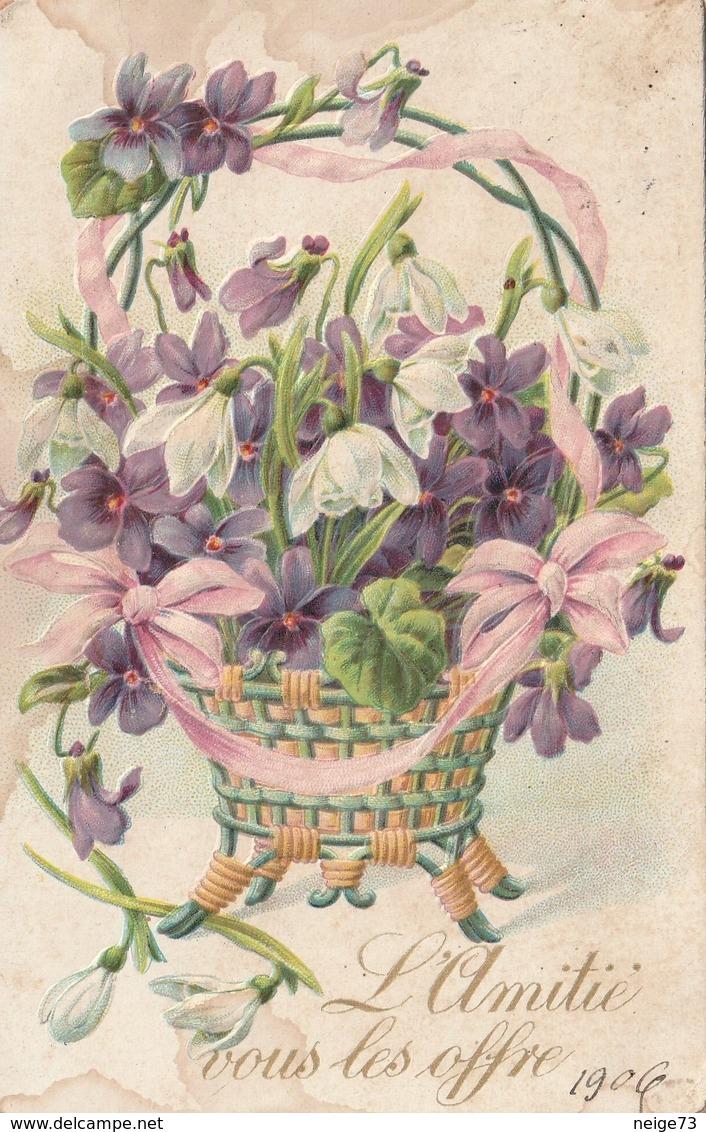 Carte Postale Ancienne Fantaisie Gaufrée - Mignonette - Fleurs - Violettes - Perce Neige - Fantaisies