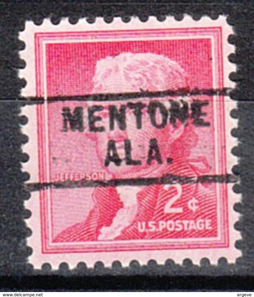 USA Precancel Vorausentwertung Preo, Locals Alabama, Mentone 729 - Etats-Unis