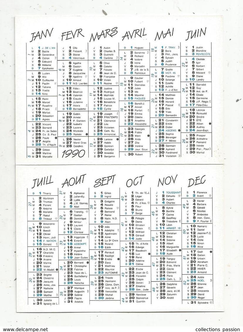 Calendrier Petit Format , 1990 , Roger GAGE , Pharmacien , Aquarelle De A. Renoux , étang Dans La Dombes ,Bresse,3 Scans - Calendriers
