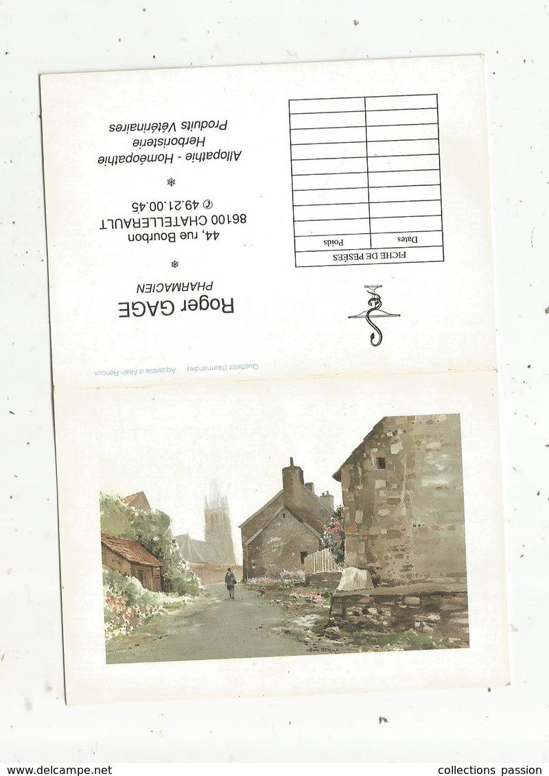 Calendrier Petit Format , 1990 , Roger GAGE , Pharmacien , Aquarelle De A. Renoux , Quettetot , Normandie ,3 Scans - Calendriers