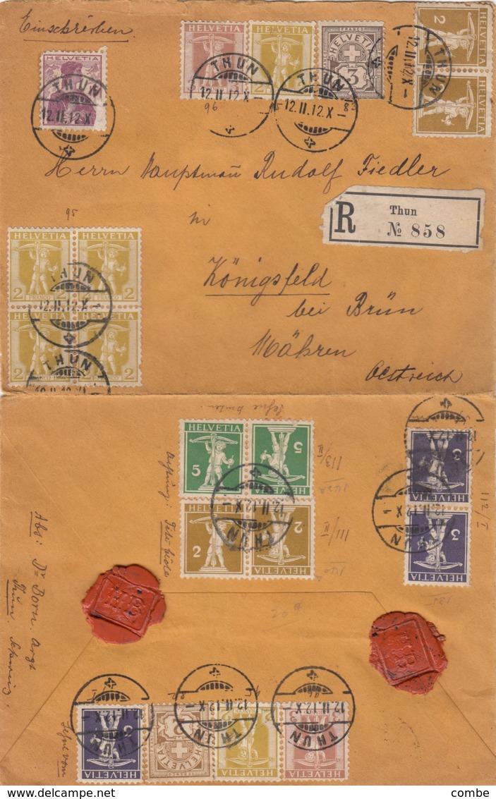 LETTRE. SUISSE. 12 II 1912. RECOMMANDÉ THUN POUR L'AUTRICHE - Schweiz