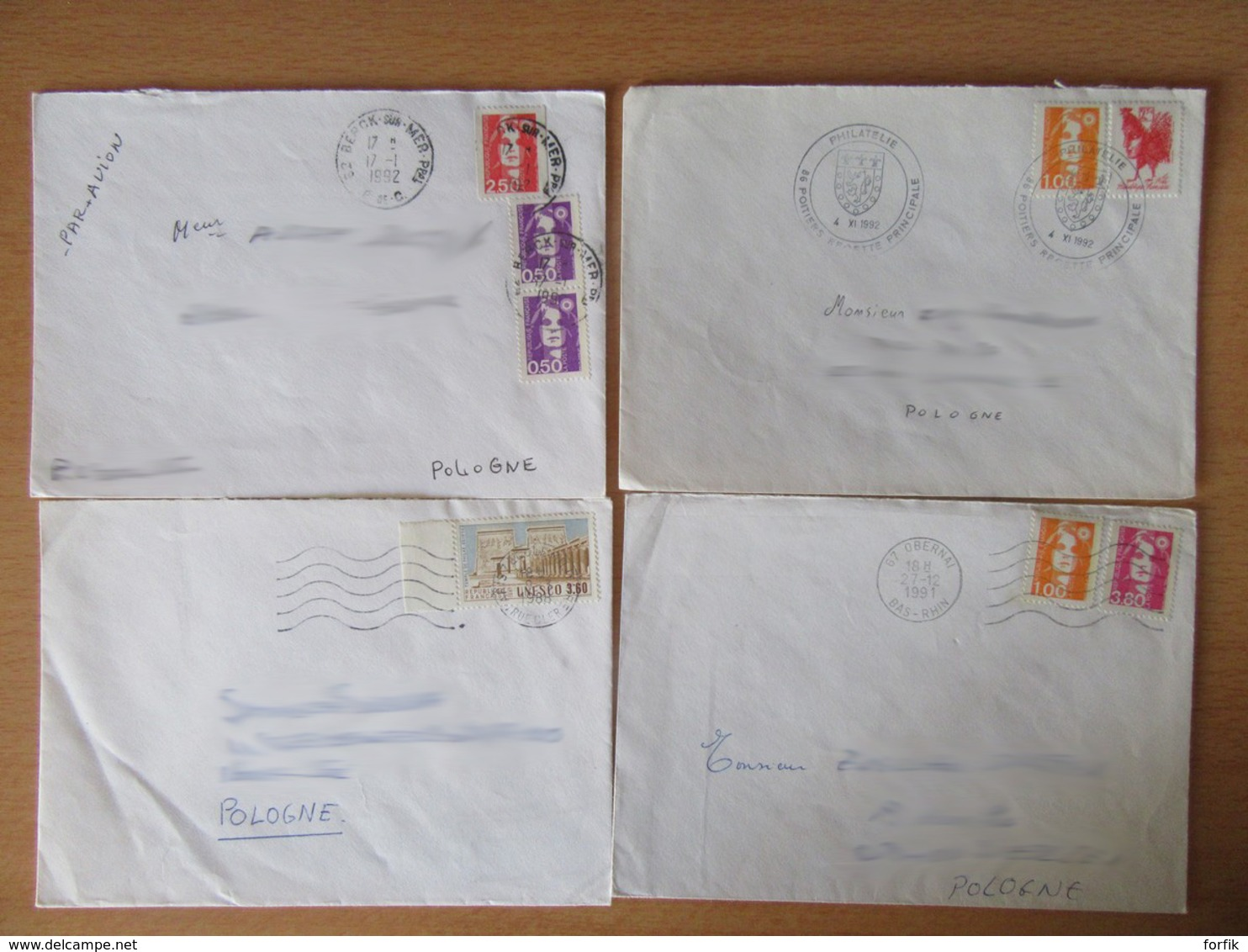 France Vers Pologne - 11 Enveloppes Timbrées Modernes - Bons Affranchissements Et Timbres Variés - Collections