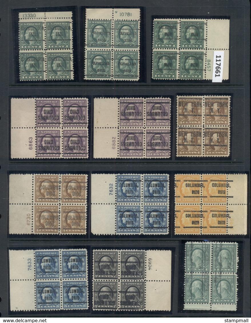 USA 1908-1919 Washington Franklin Precancels T&C Assortment, Blocks & Multiples, Plate Block, Imprint Etc, Some Mint, Ha - Collections (without Album)