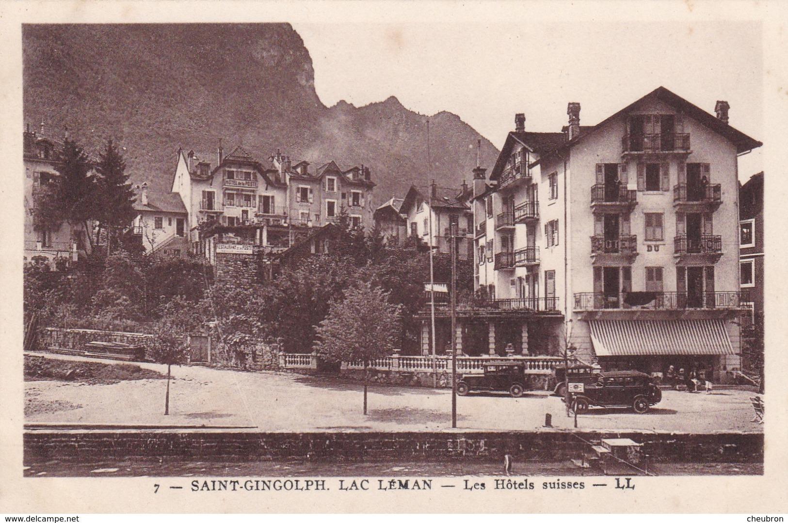 74. SAINT GINGOLPH. CPA SEPIA . LES HÔTELS SUISSES - France
