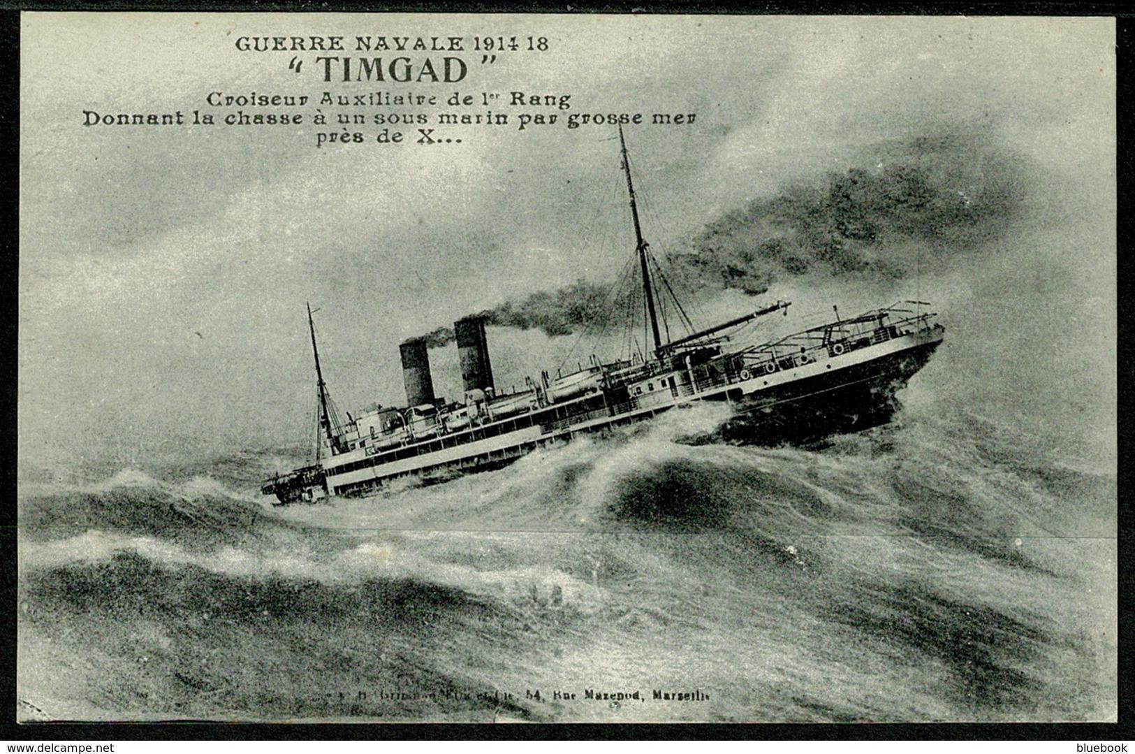 "Ref 1243 - WWI France Military Naval Postcard - Ship ""Timgad"" - Warships"