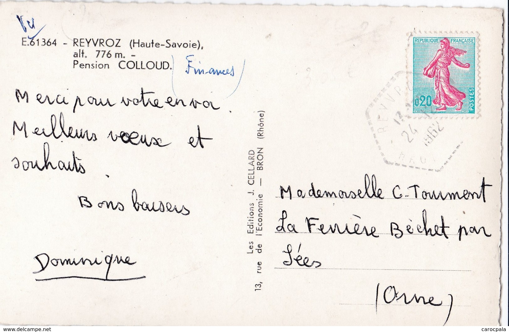 Carte 1950 REYVROZ / PENSION CHALET COLLOUD - France