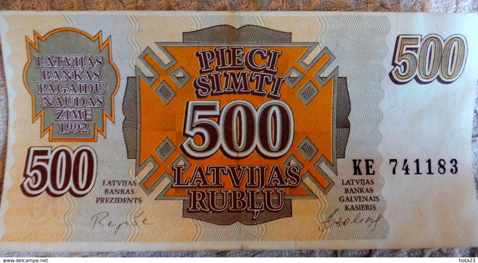 LATVIA , LETTLAND  500 ROUBLE / RUBLE 1992 EX- RUSSIA CIRC BANKNOTE - KE - 83 - Latvia
