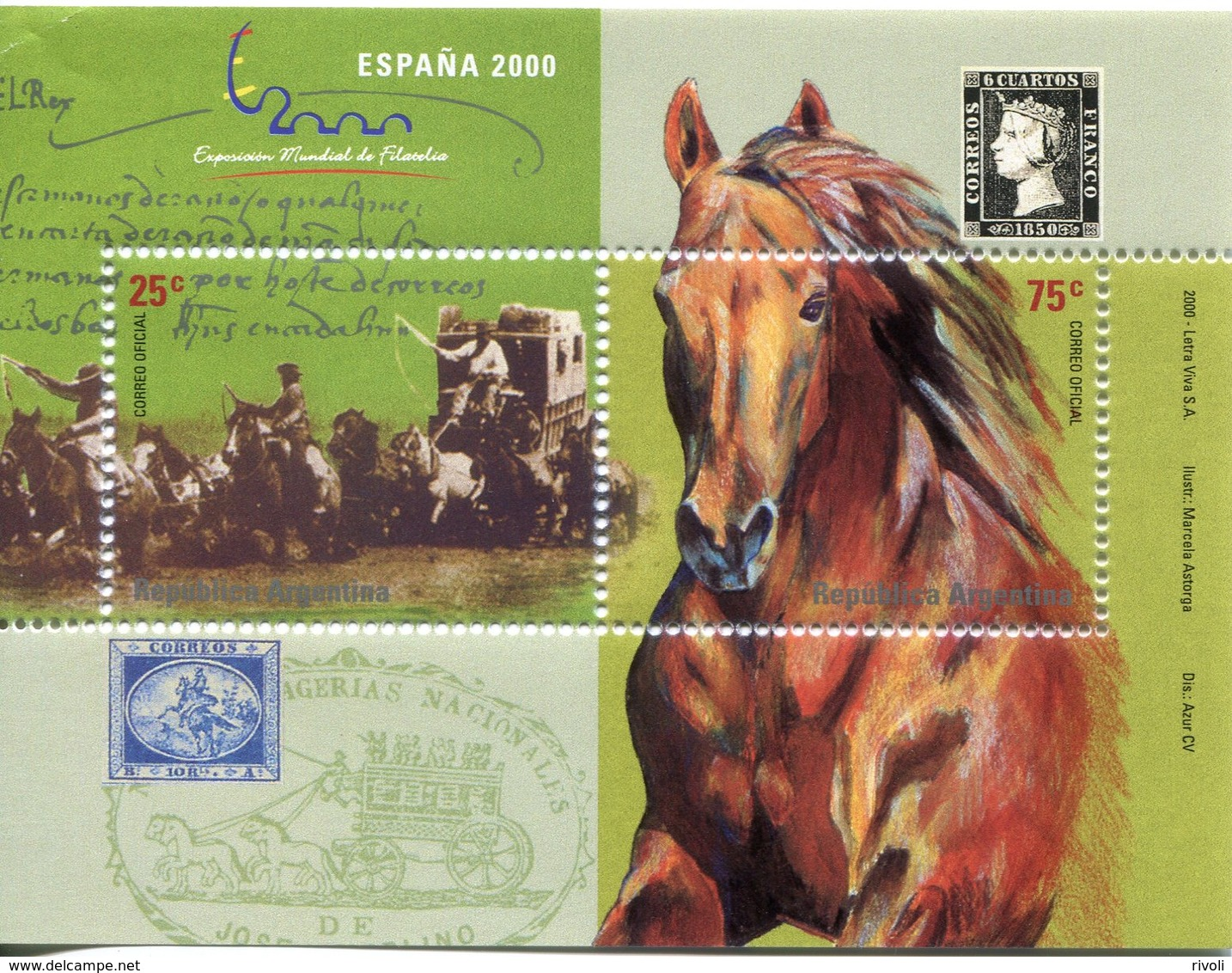 "ARGENTINE ** Bloc N° 74 - ""Espana 2000"" Expo Philat. Chevaux - Blocchi & Foglietti"