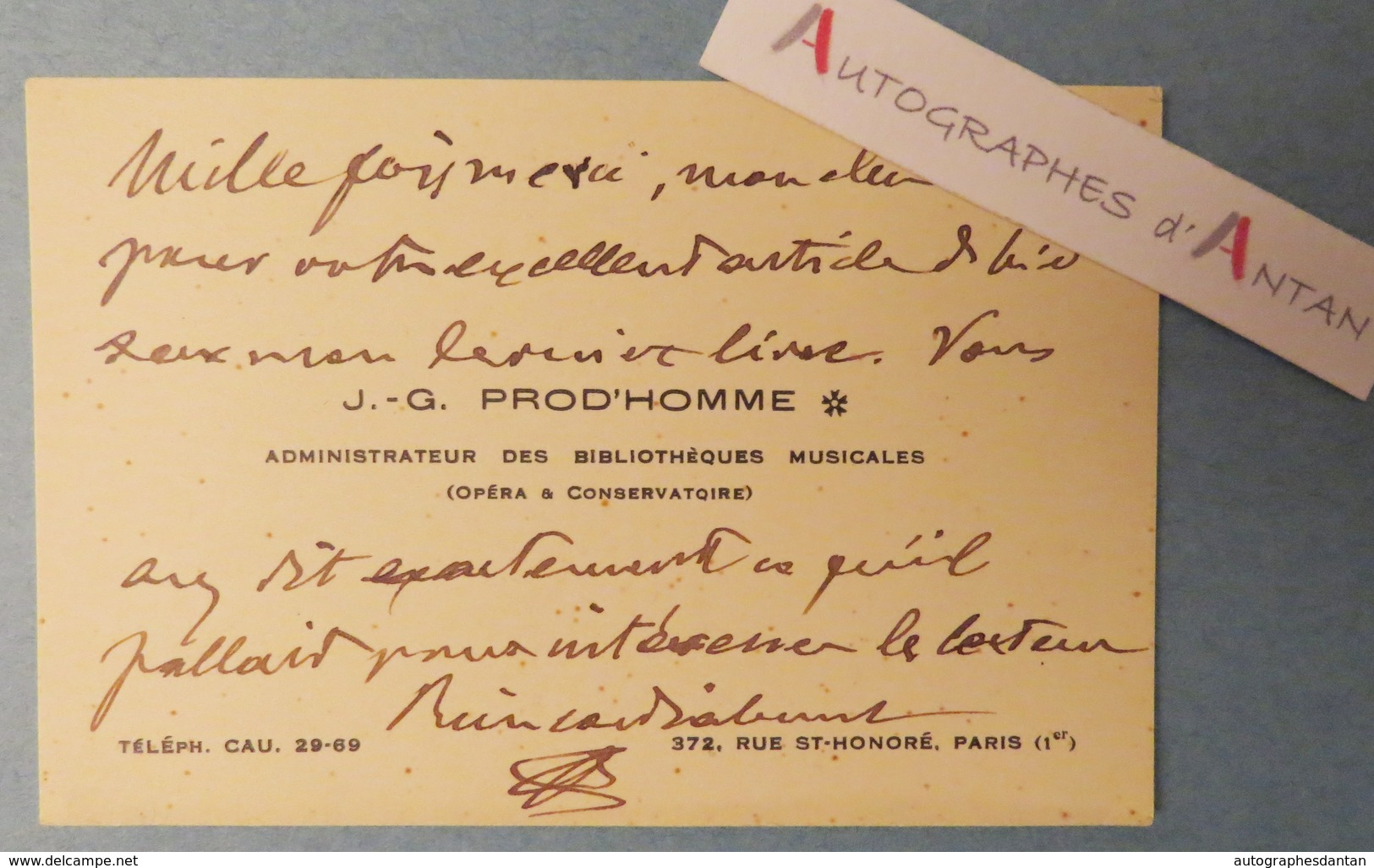 Jacques-Gabriel PROD'HOMME Musicologue - Bibliothèques Musicales Opéra & Conservatoire Carte Lettre Autographe L.A.S - Autographes