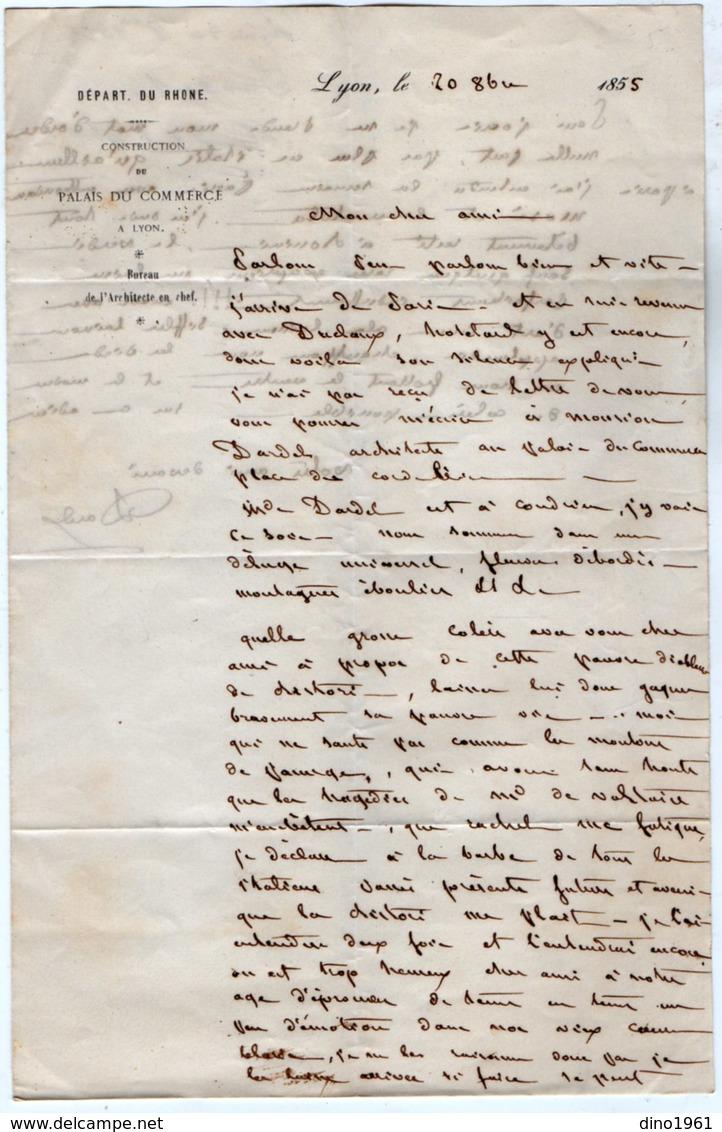 VP13.556 - LYON 1855 - Lettre Autographe De Mr R.DARDEL Architecte Né à LYON En 1796 Mort à CONDRIEU En 1871 - Autographes