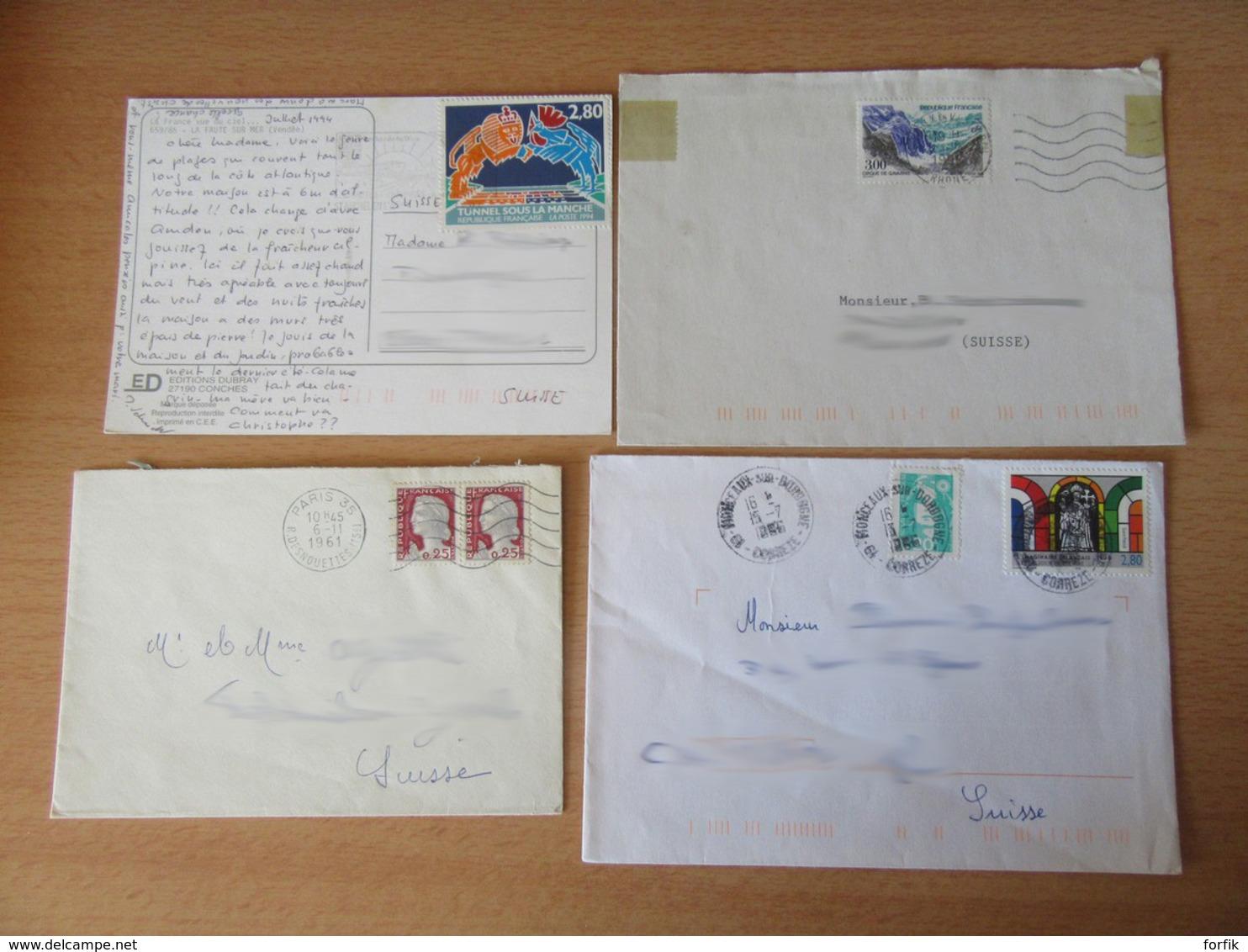 France Vers Suisse - Lot De 44 Enveloppes Timbrées Modernes - Bons Affranchissements Et Timbres Variés - France