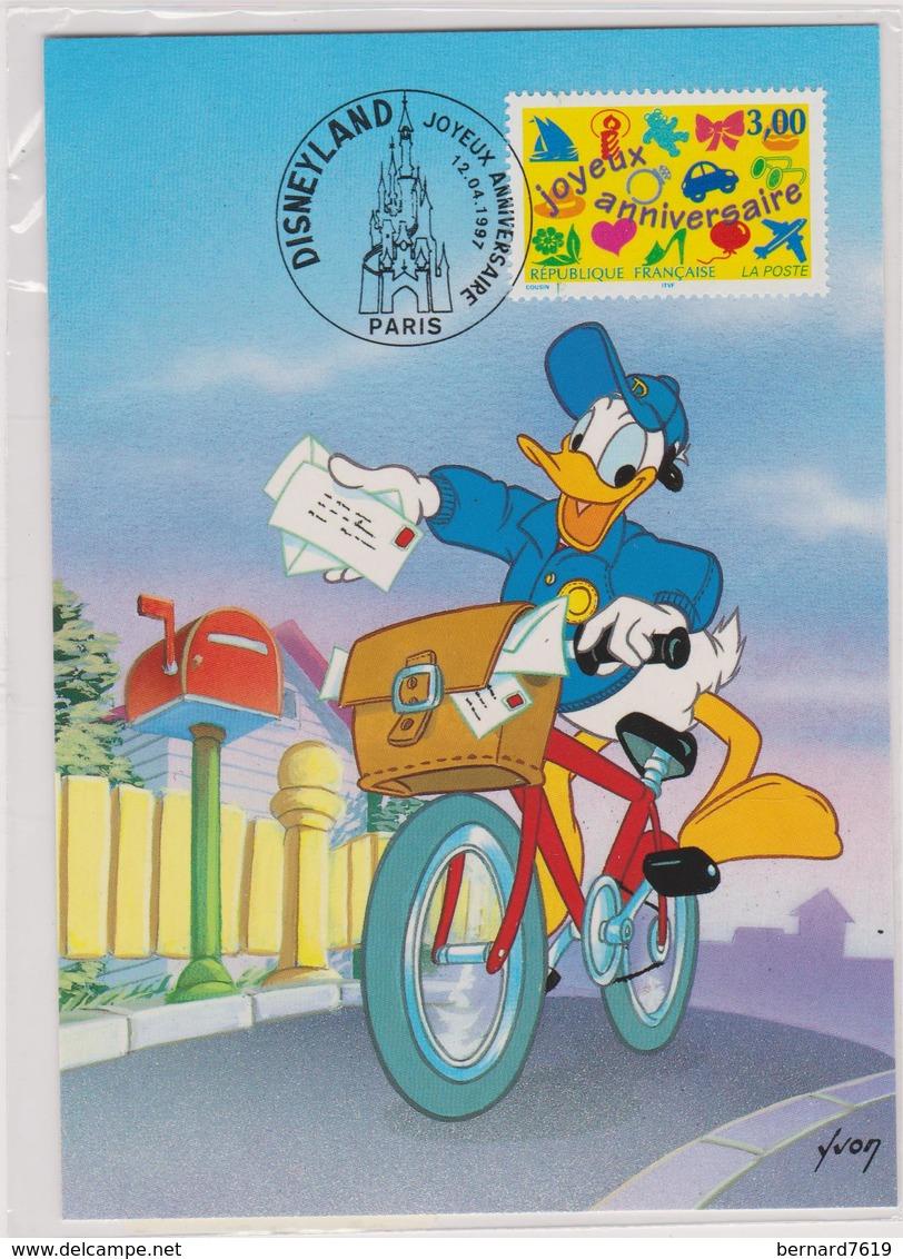 Carte Disneyland  Paris  Joyeux Anniversaire  Par Yvon  12 Avril 1997 - Disneyland