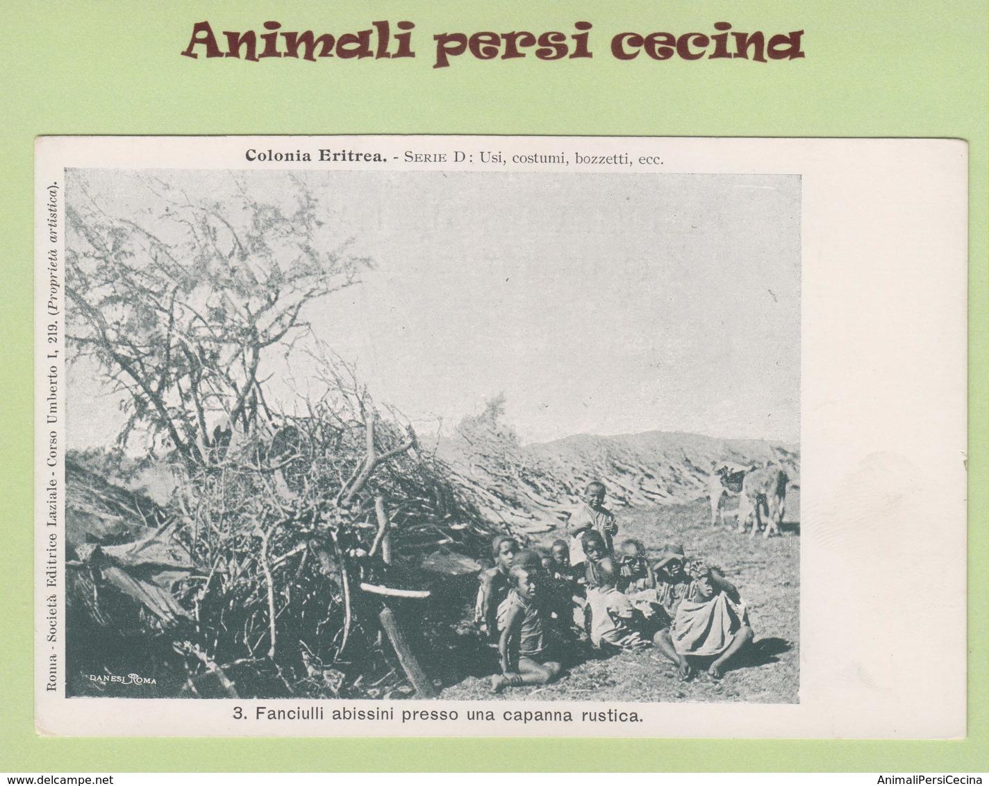 AFRICA ORIENTALE - ERITREA - COLONIA - FANCIULLI ABISSINI CAPANNA RUSTICA - CARTOLINA - LT60-035 - Eritrea