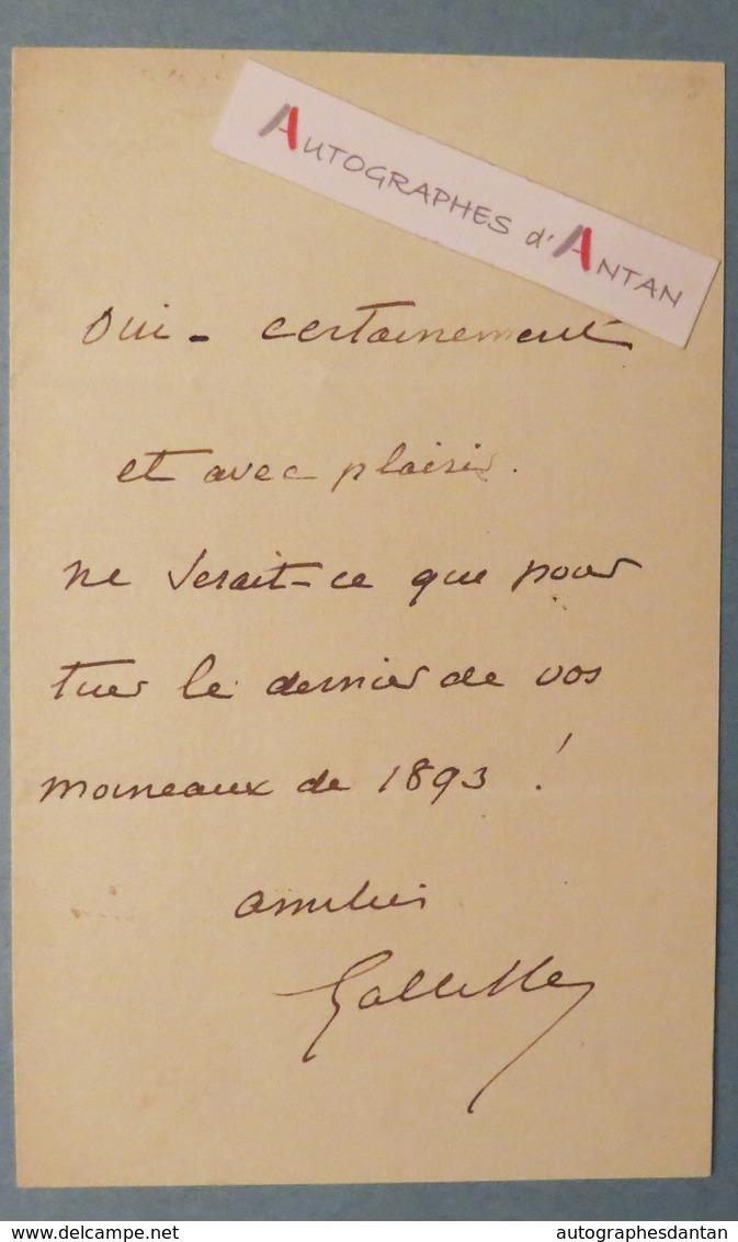 Général Gaston De GALLIFFET Alias Le « Massacreur De La Commune » Billet Lettre Autographe - MOINEAUX 1893 - Autographes