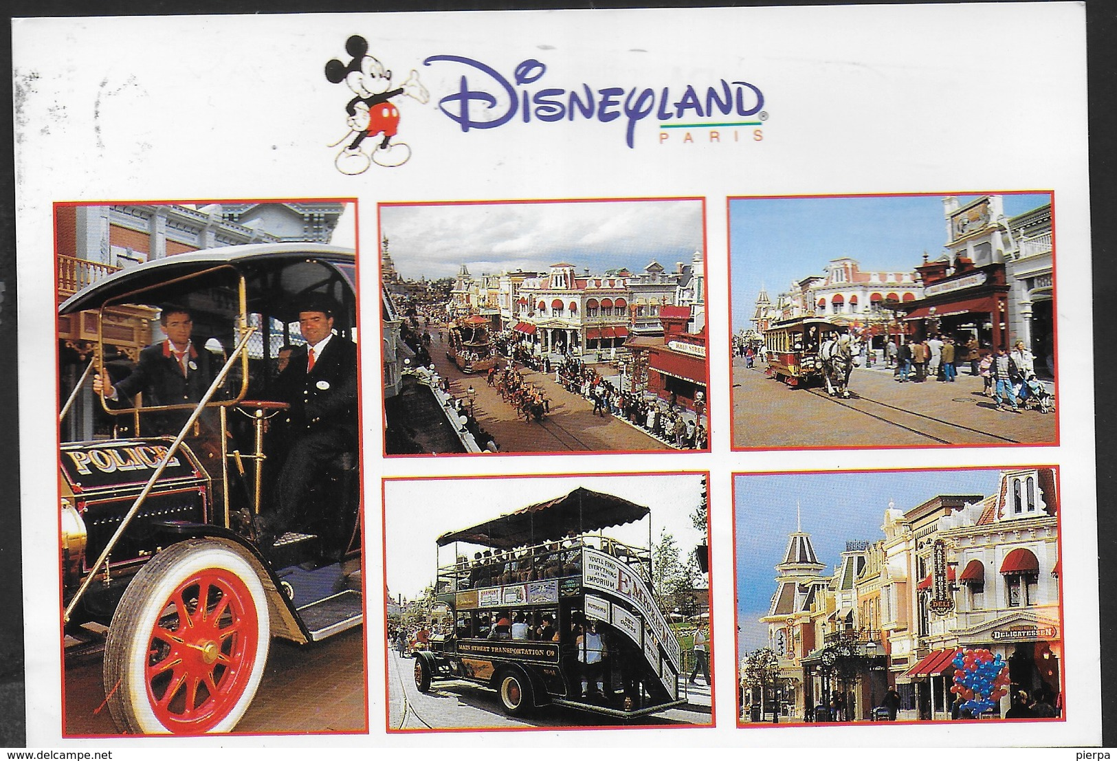 DYSNEYLAND - MAIN STREET - VIAGGIATA 1996 FRANCOBOLLO ASPORTATO - Disneyland