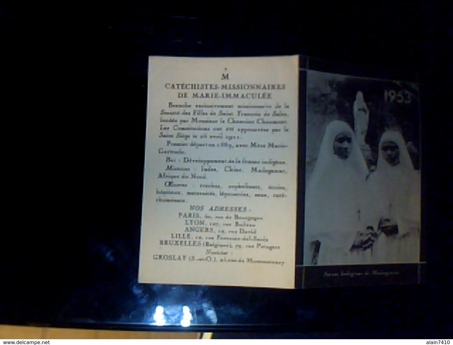 Calendrier Petit Format Catéchiste Missionnaires De Marie Immaculée Annee 1953 - Calendriers