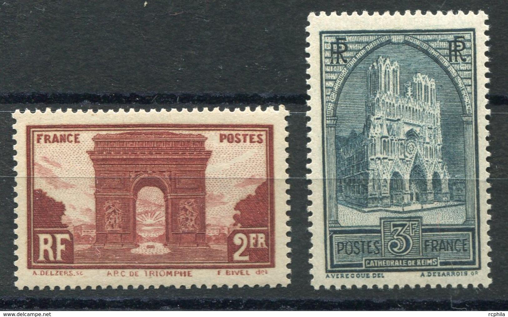 RC 10650 FRANCE N° 258 + 259 TYPE IV - ARC DE TRIOMPHE + CATHÉDRALE DE REIMS COTE 119€ NEUF * - France