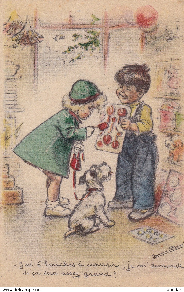 Germaine Bouret. Illustrateur. Enfants  Chien Dog Old Postcard  M.D. Paris. Cipo 1954 - Bouret, Germaine