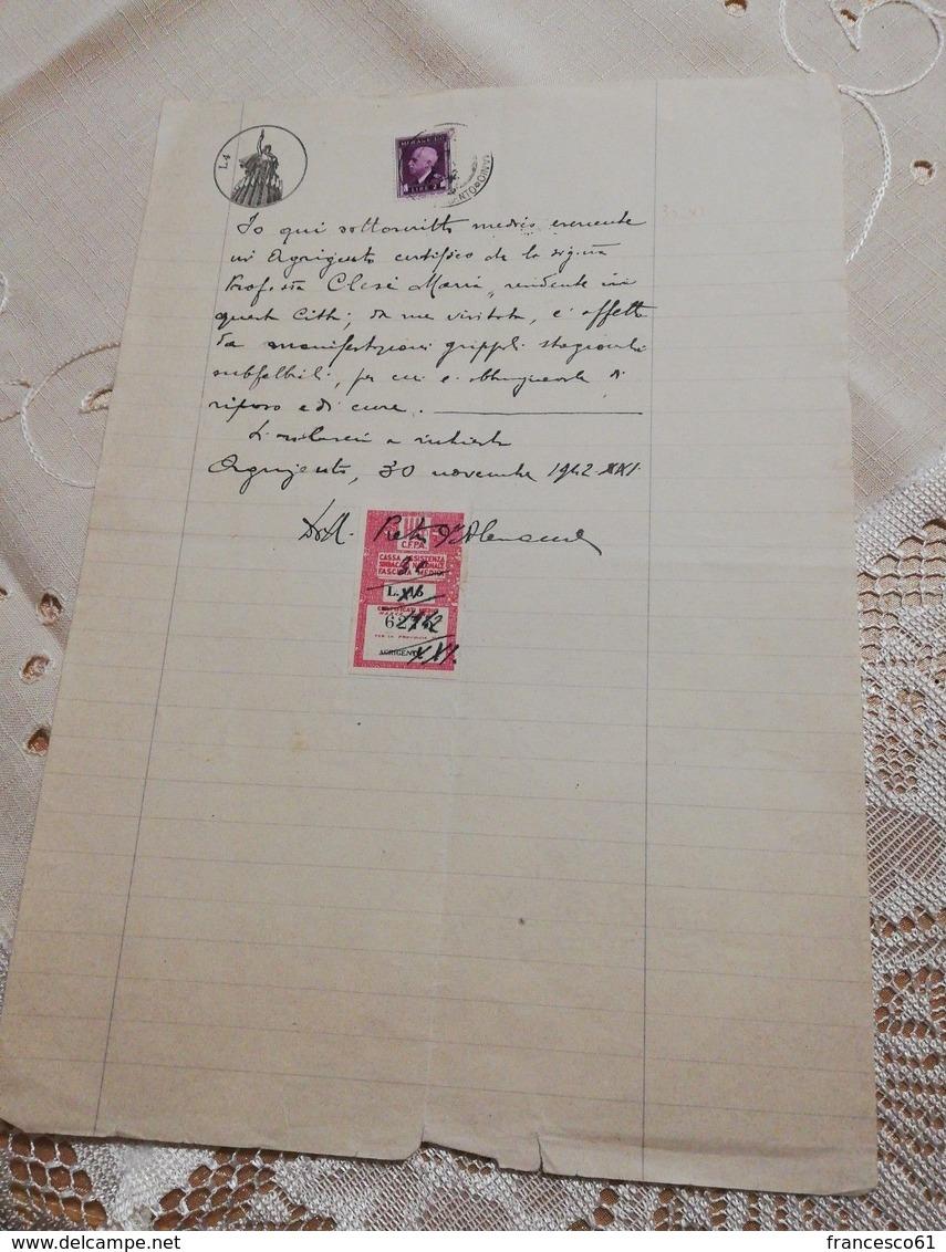 2752) Marche Bollo Fiscali Ordine Medici CFPA SINDACATO Agrigento 1943 - Fiscali