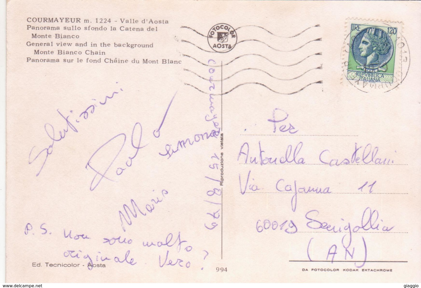 °°° Cartolina Valle D'aosta Courmayer Viaggiata °°° - Altre Città