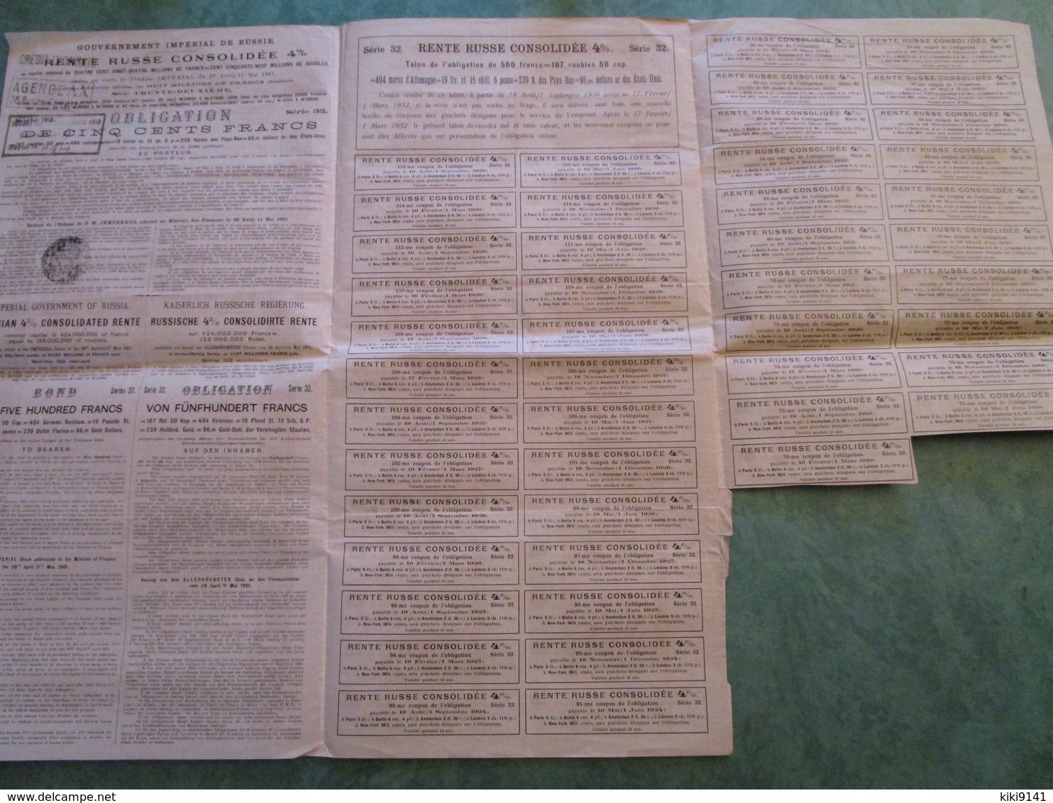 RENTE RUSSE CONSOLIDEE 4% - Obligation De CINQ CENTS FRANCS Au Porteur N° 1716 - Russie