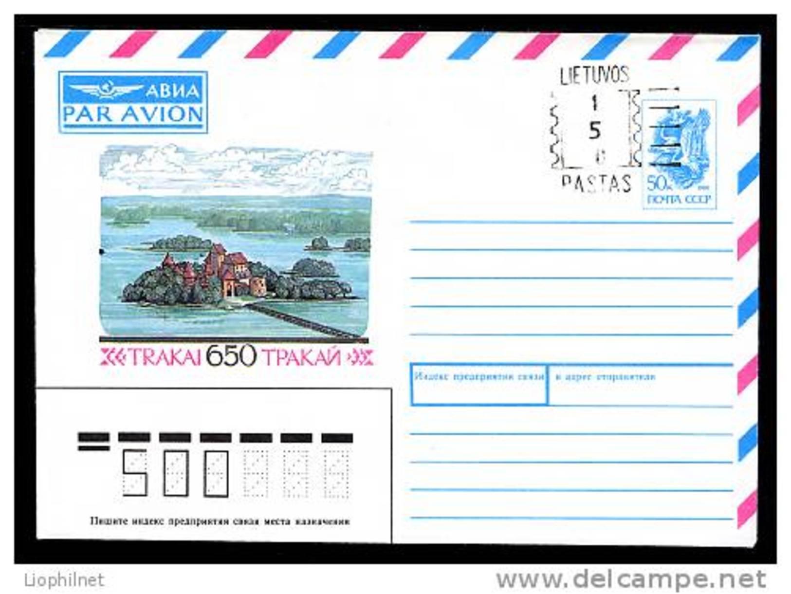 LITUANIE 1992,  ENTIER POSTAL TRAKAI URSS SURCHARGE 150 ,  1 Enveloppe, Neuve / Mint.  R430 - Litauen