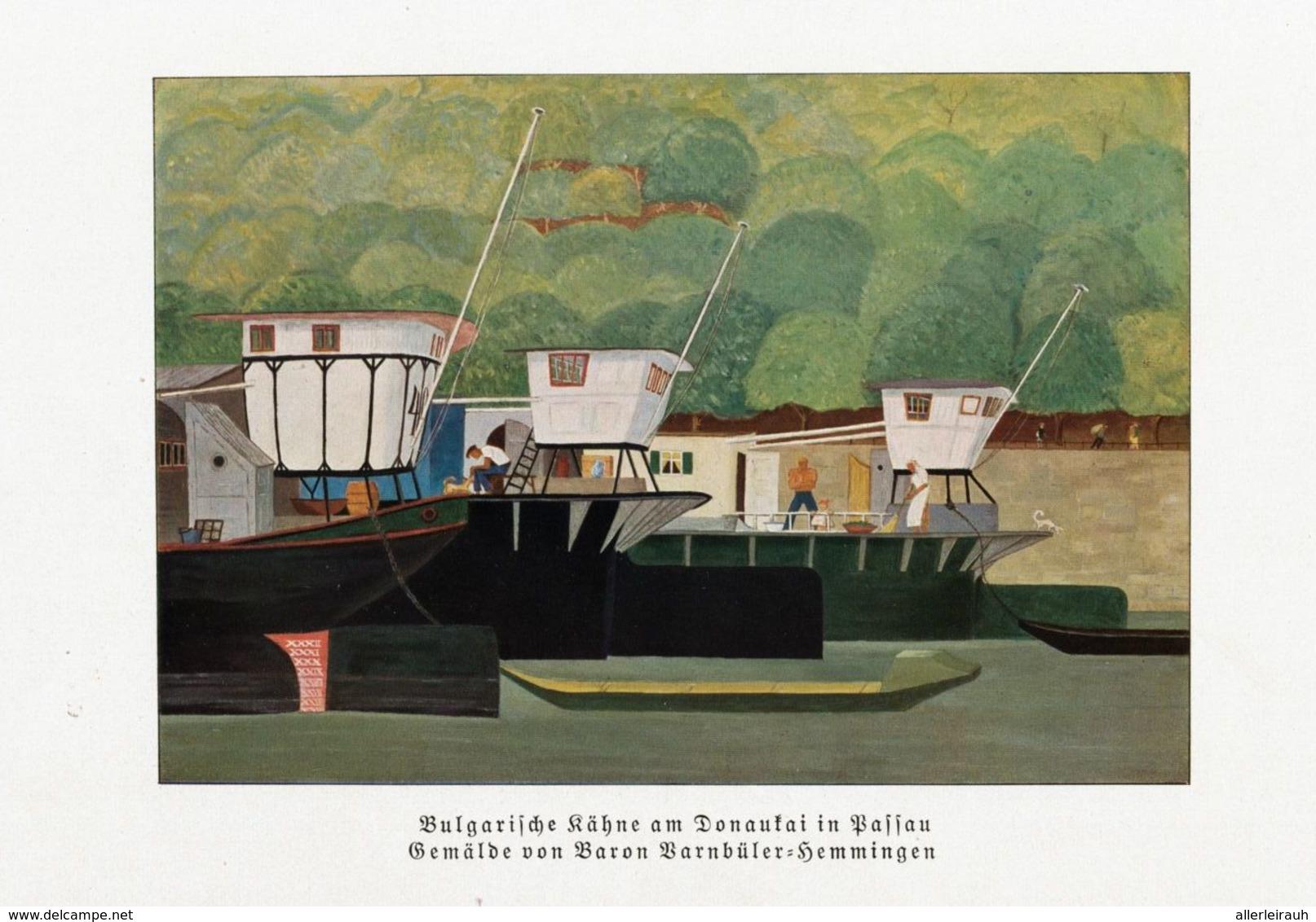 Bulgarische Kähne Auf Donaukai In Passau (nach Einem Gemälde Von Baron Barnbüle/ Druck, Entnommen Aus Zeitschrift / 1933 - Bücher, Zeitschriften, Comics