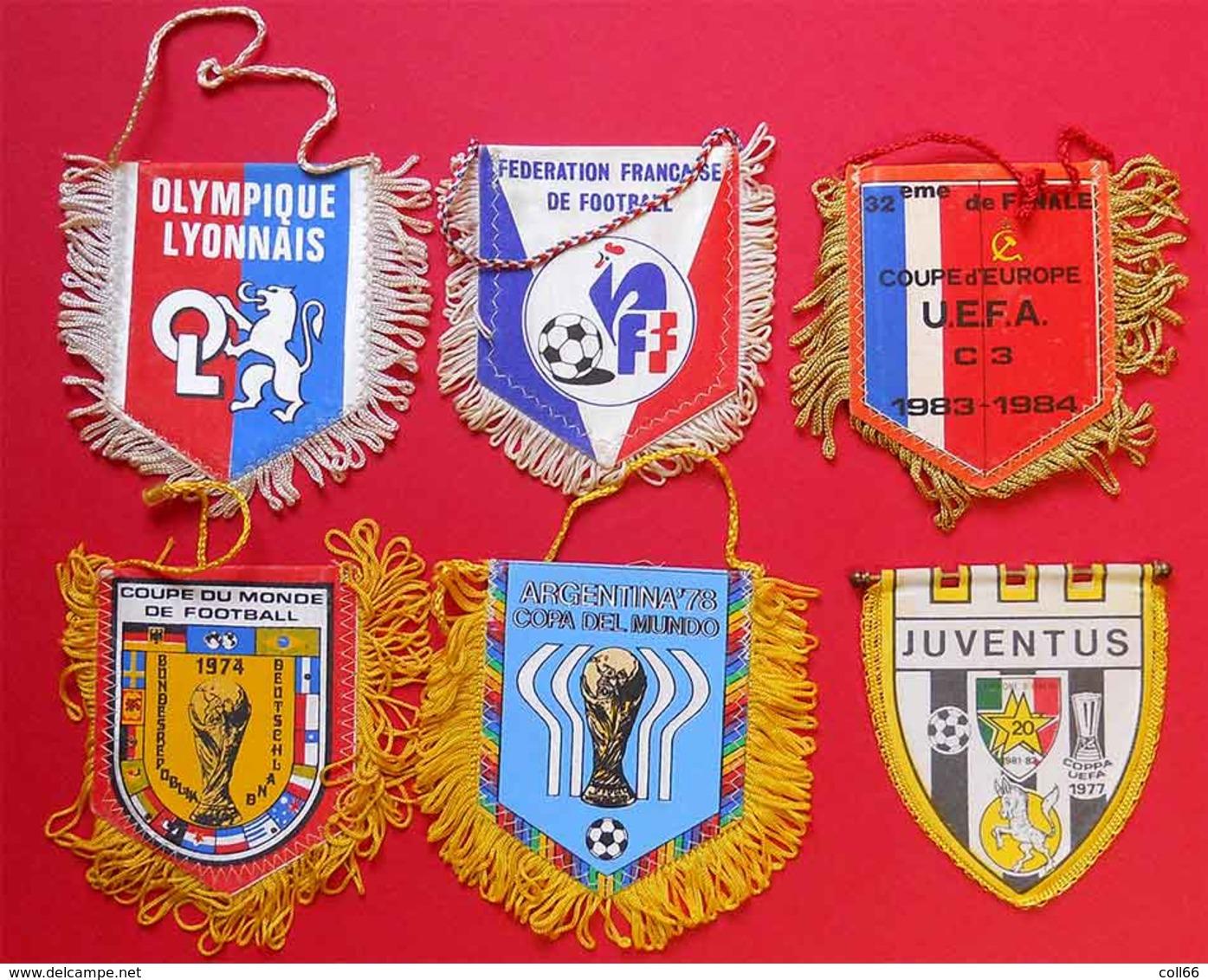 RARE Lot 6 écussons Fanions Foot Football Anciens Coupe Du Monde & UEFA  74-77-78-83 En Tissu 10x8cm - Habillement, Souvenirs & Autres