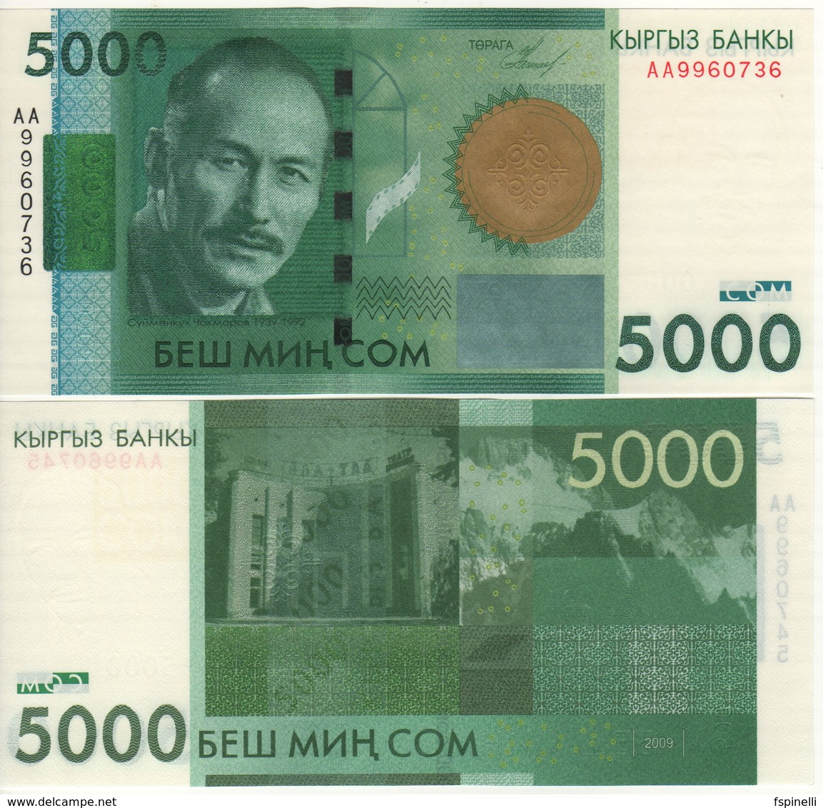 KYRGYSTAN   5'000 Som  P30  2009  UNC - Kirghizistan