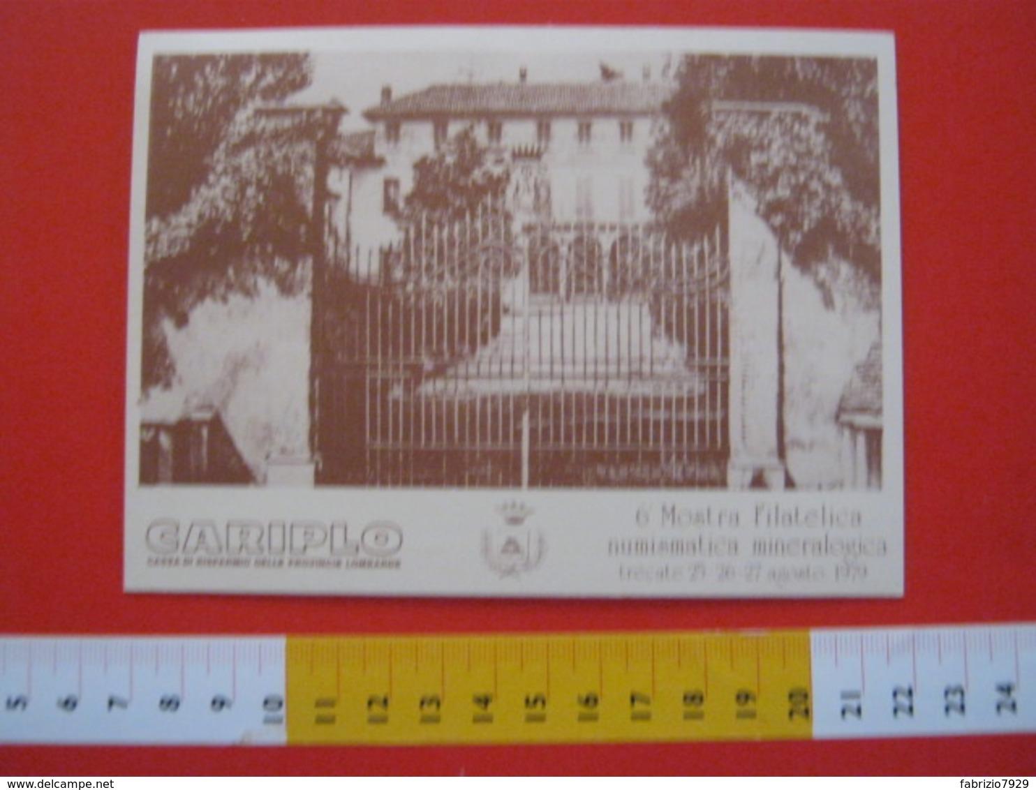 A.02 ITALIA ANNULLO - 1979 TRECATE NOVARA 6^ MOSTRA MINERALI MINERALOGICA MINERAL EXPO CARD VILLA CICOGNA CARIPLO BANCA - Minerali