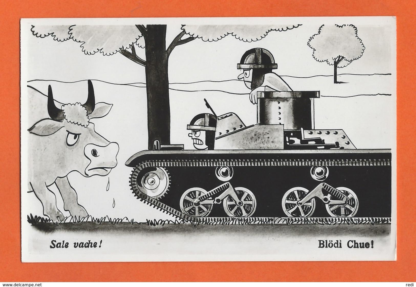 Postcard Military Humor - Blödi Chue ! - Sale Vache ! - Umoristiche