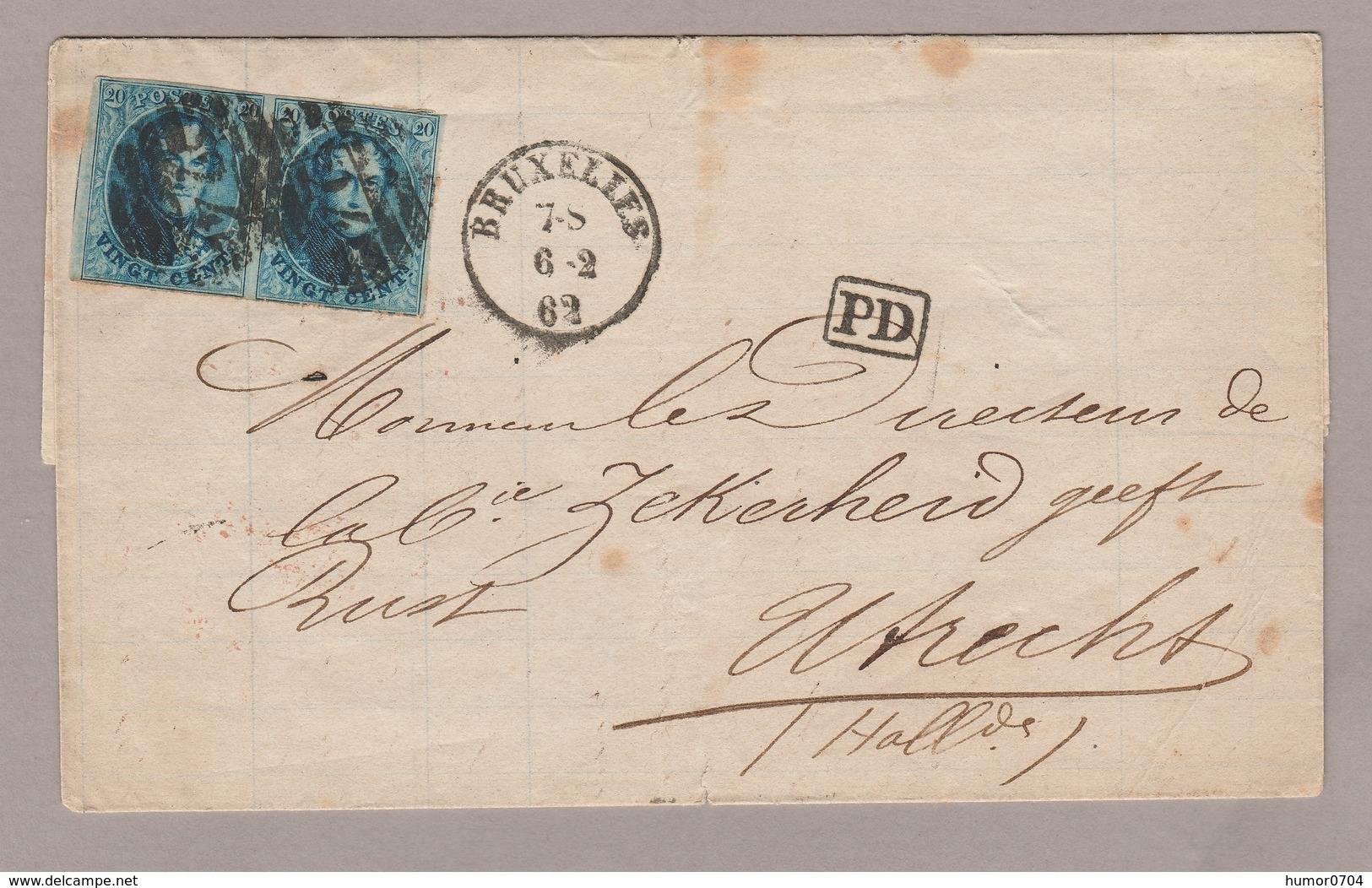 1862, Vouwbr., Medaillon 20 Ct In Paar, BUXELLES BRUSSEL N. UTRECHT (NEDERLAND) - 1858-1862 Medaillen (9/12)