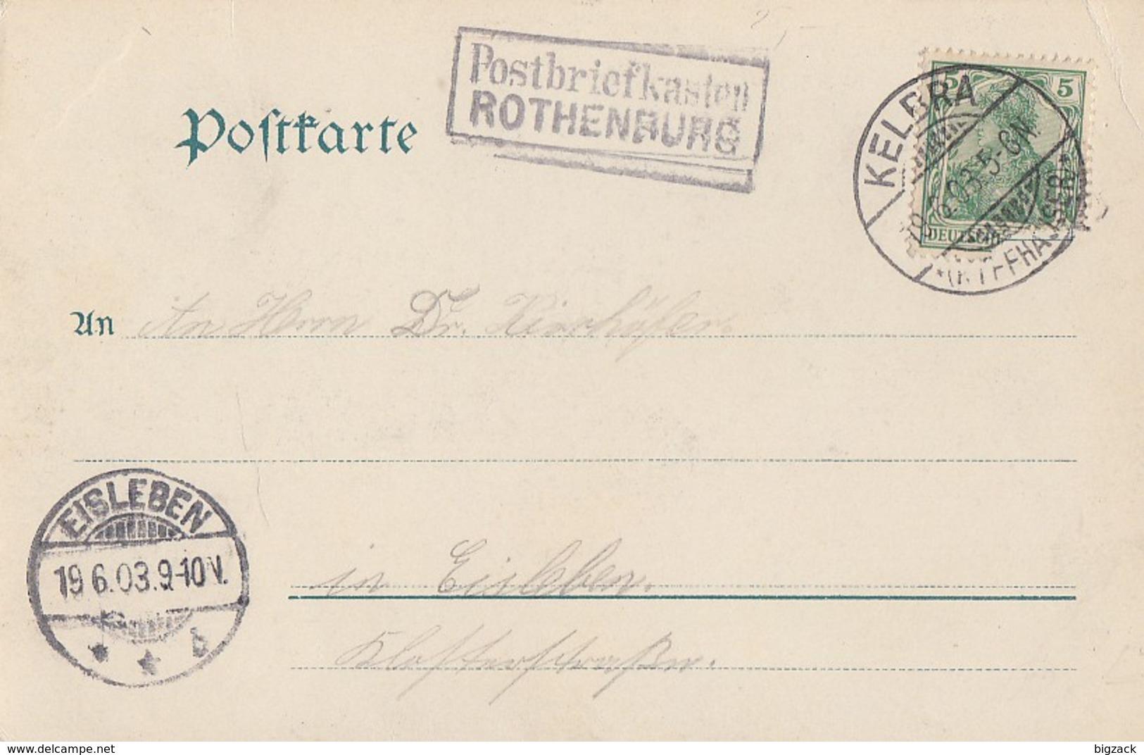 DR AK EF Minr.70 Kelbra 19.6.03 Nebenstempel R2 Postbriefkasten Rothenburg Gel. Nach Eisleben - Deutschland