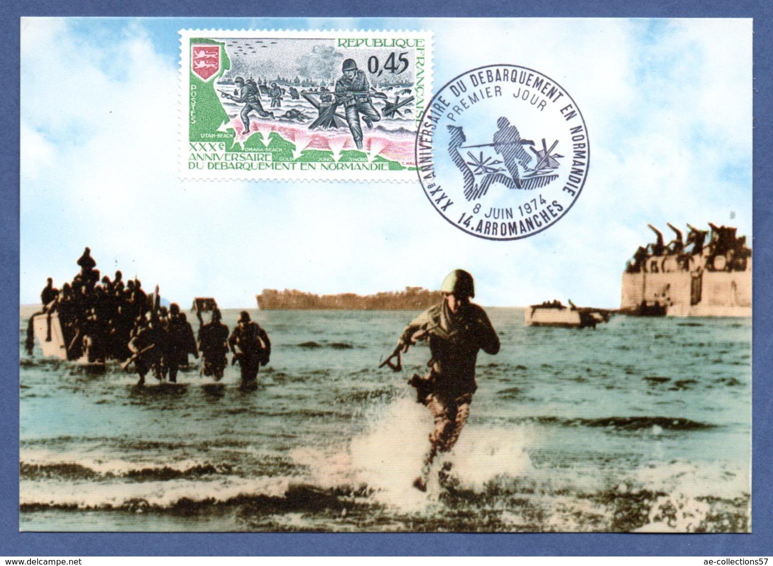 Carte 1er Jour  / Débarquement En Normandie / Arromanches / 8-6-74 - Maximum Cards