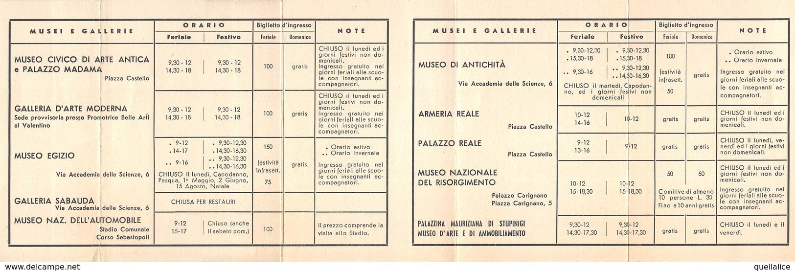 """0690 """"TORINO - MUSEI E GALLERIE - ORARI - XX SECOLO"""" ENTE PROVINCIALE PER IL TURISMO. ORIG - Europe"""