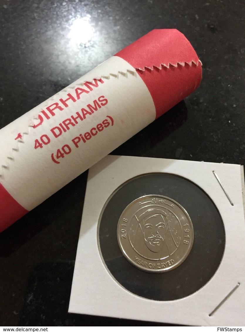 UAE 1 Dirham Coin Commemorative 2018 Year Of Zayed UNC Full ROLL - Emirats Arabes Unis