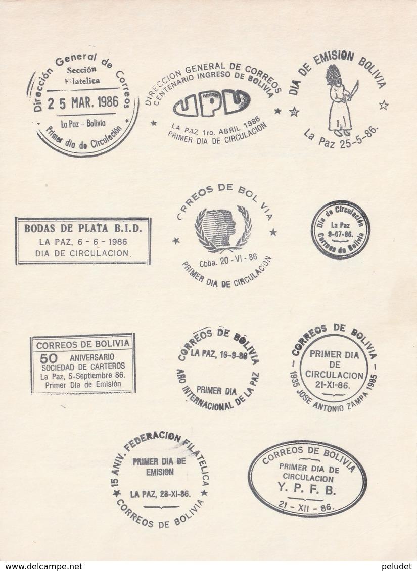 Bolivia 1986 Postmarks Matasellos Cancelations Flamme D'oblitération - Bolivia