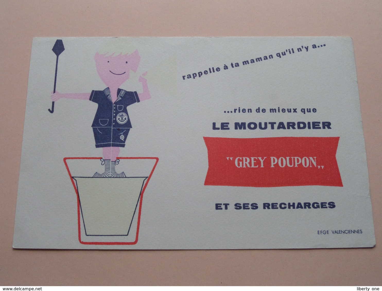 """"""" GREY POUPON """" Le Moutardier ( +/- 13,5 X 21 Cm. ) Buvard ( Voir Photo ) ! - Buvards, Protège-cahiers Illustrés"""