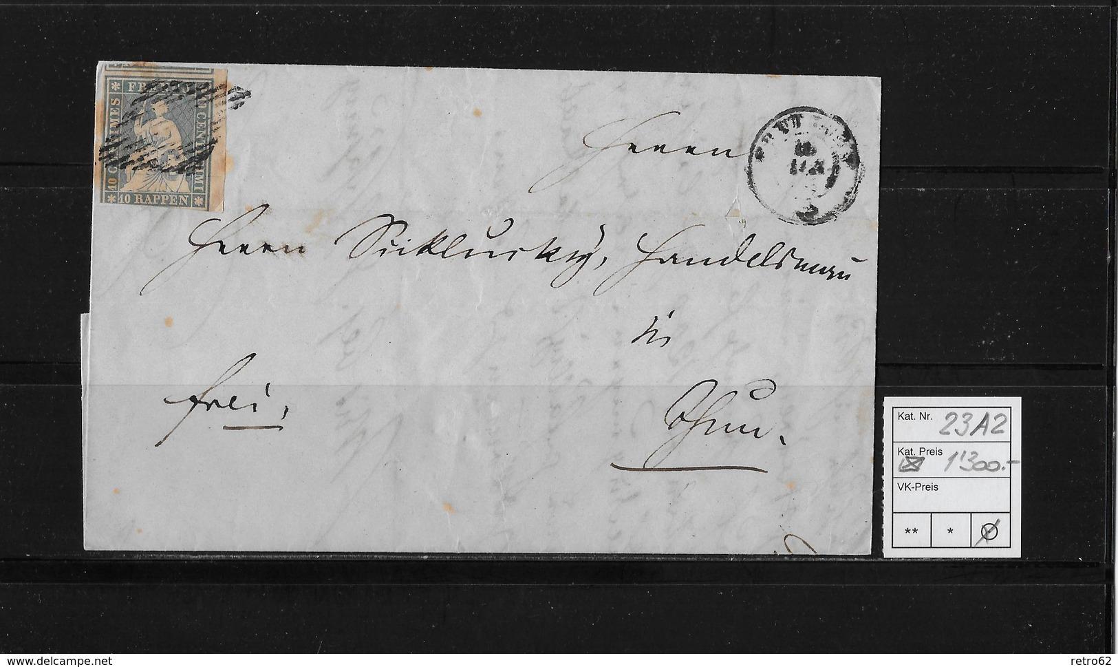 1854-1862 SITZENDE HELVETIA Ungezähnt (Strubel)  → Frei Frutigen Nach Thun SBK-23A2 - Lettres & Documents