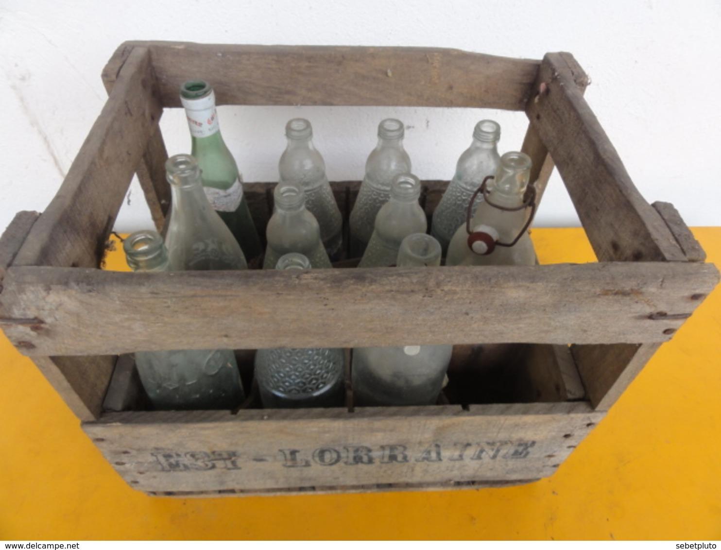 Caisse Bois Est Lorraine Bouteille Orangina Vichy Coca - Andere Verzamelingen