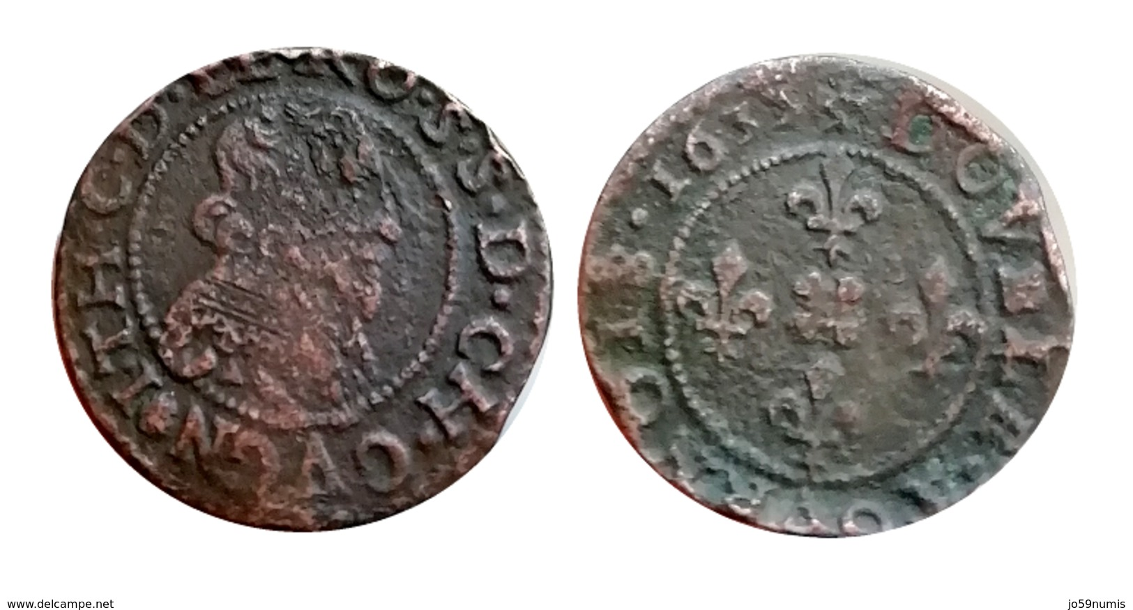 RARE!!! JEAN-THEODORE Double Tournois (Cugnon) 1633 CGKL R2 A VOIR!!! - 476-1789 Monnaies Seigneuriales