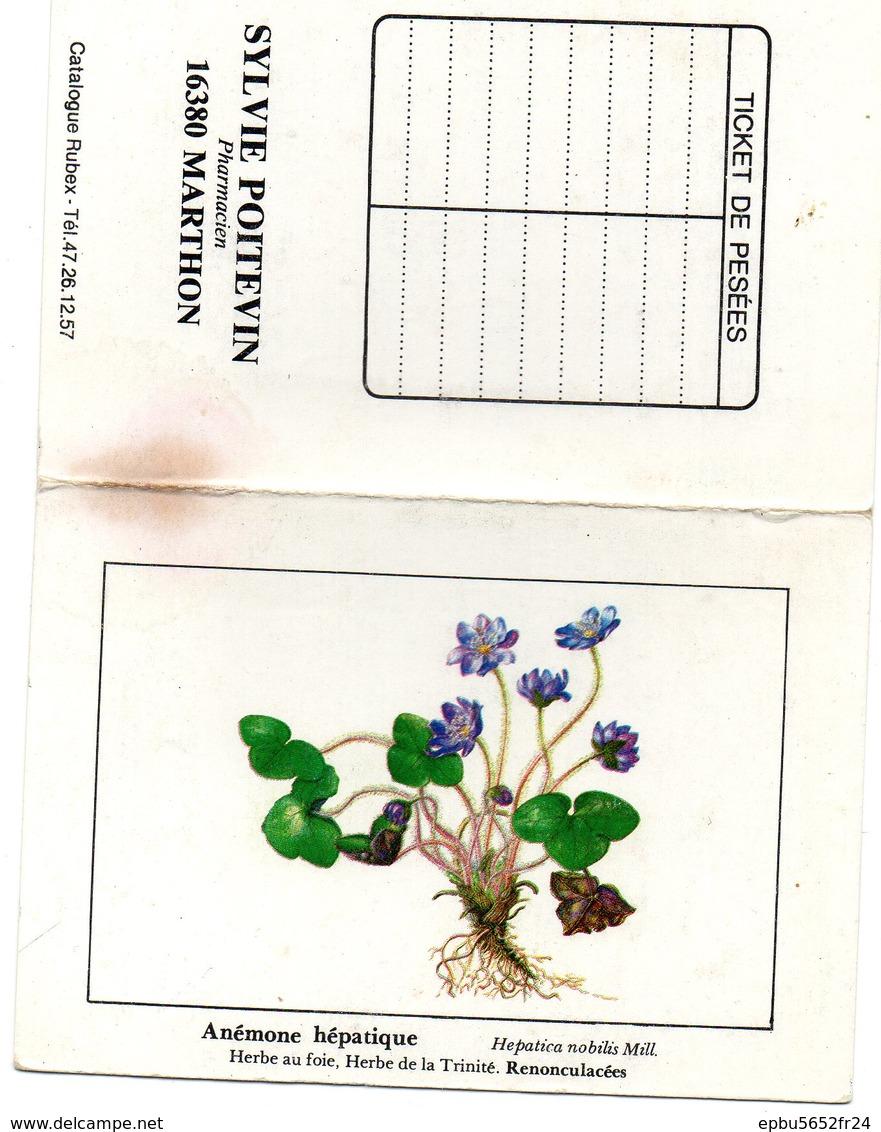 Calendrier De Poche 1988 Offert Par  Sylvie Poitevin  à Marthon 16  Fleur Anémone Hépatique - Calendriers