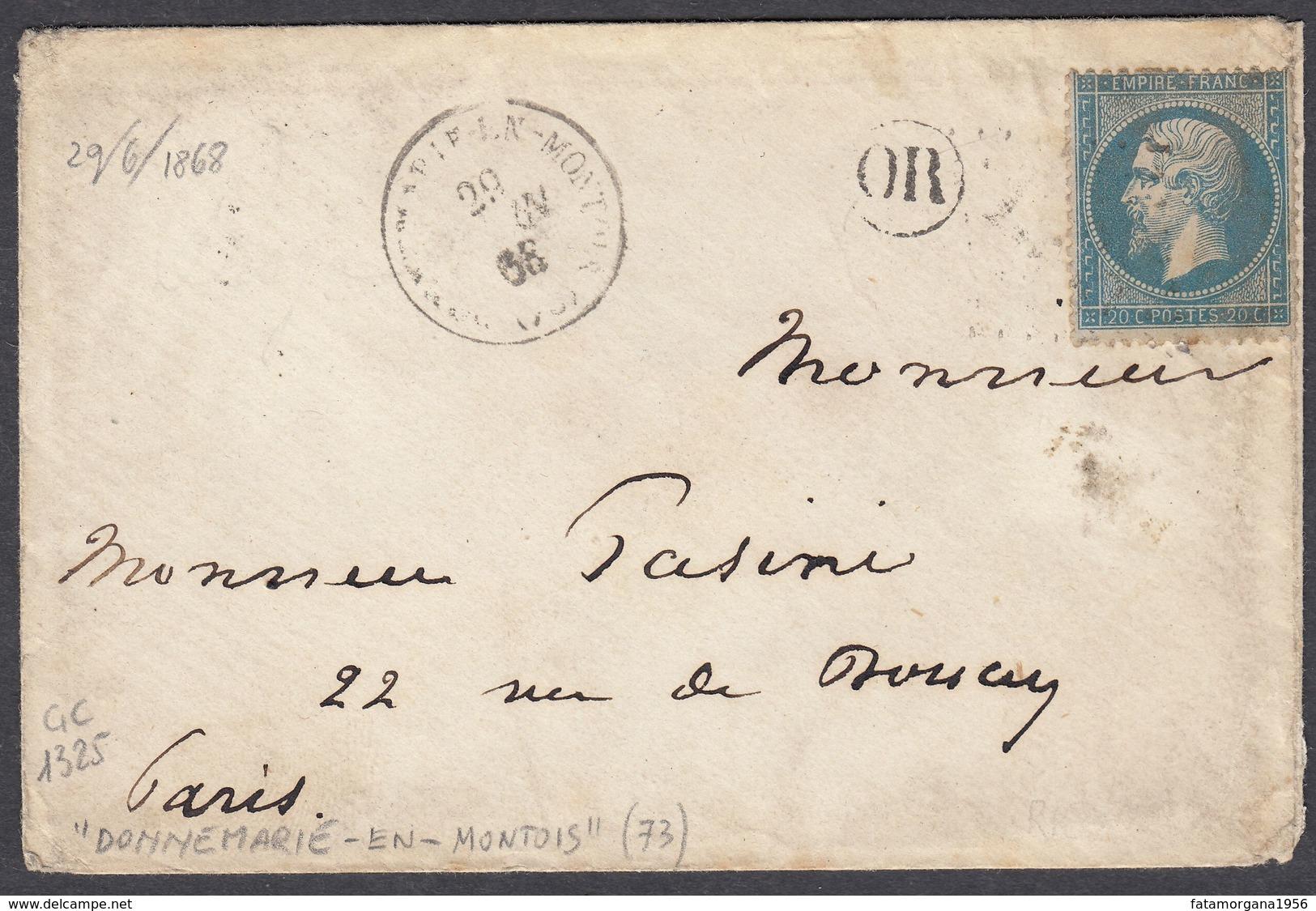 FRANCIA - FRANCE - 1862 - Yvert 22 Obliterato A Losanga, Su Piccola Busta Con Annullo OR E Timbro Del 29/06/1868 - Postmark Collection (Covers)