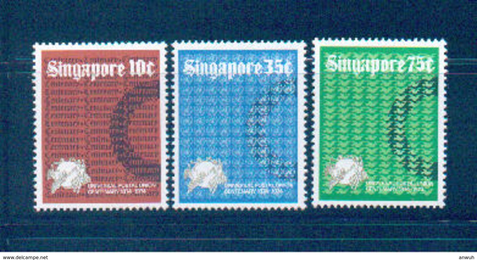 Singapore 1974 Scott 212-4 UPU MNH** - Singapore (1959-...)