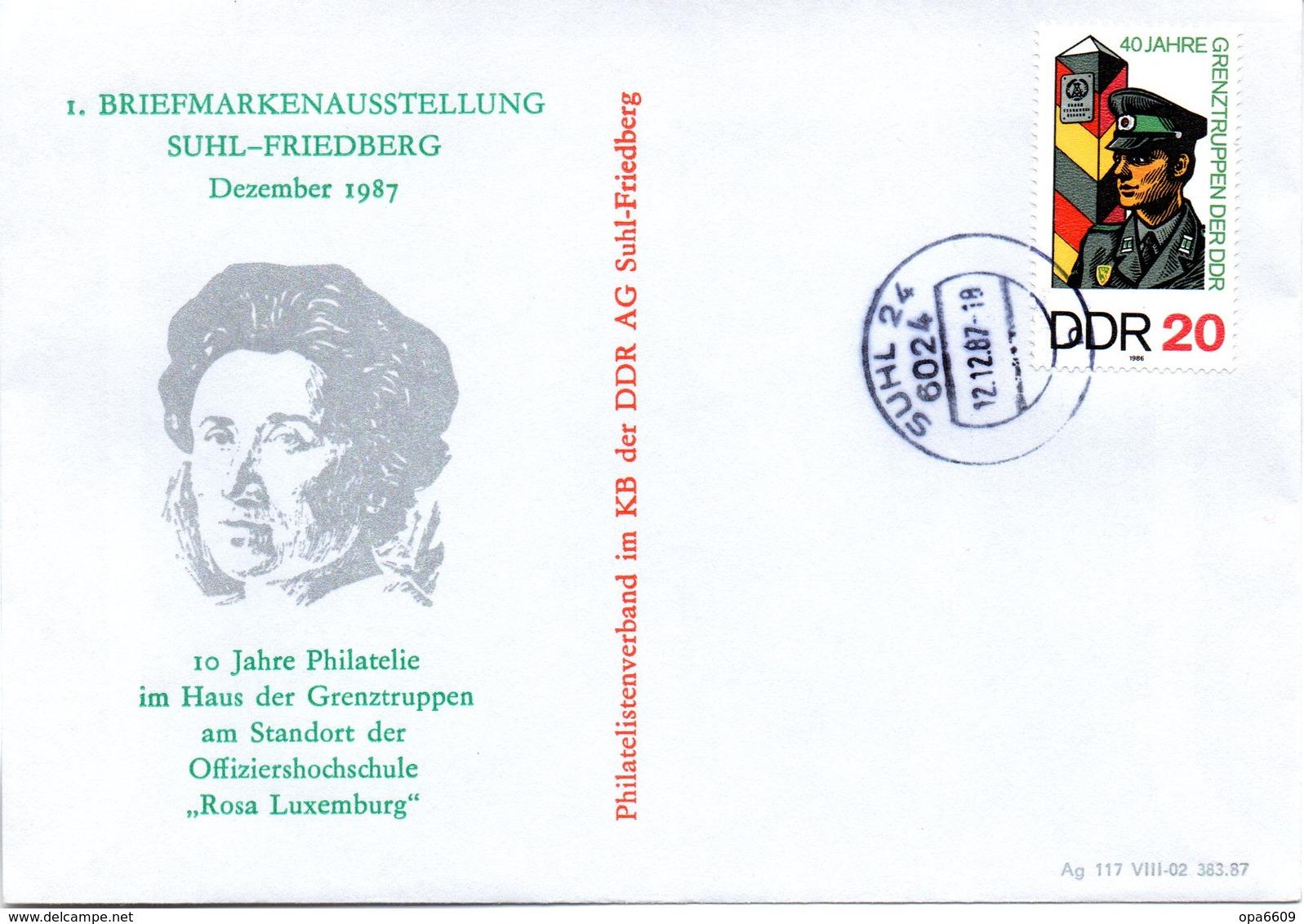 """(DDR-B2) DDR Sonderumschlag """"Haus Der Grenztruppen Offiziershochschule Rosa Luxemburg"""" EF Mi 3048, TSt.12.12.87 SUHL 24 - [6] Repubblica Democratica"""